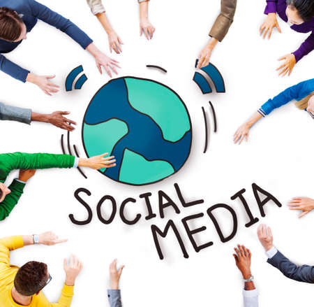 Aerial View of People and Social Media Concepts photo