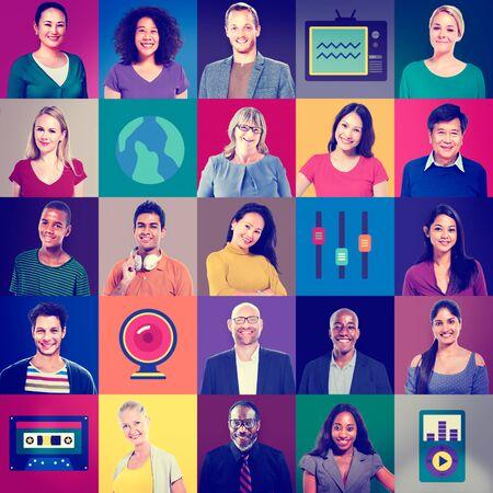 multiethnic: Multiethnic People Colorful Smiling Portrait Technology Concept