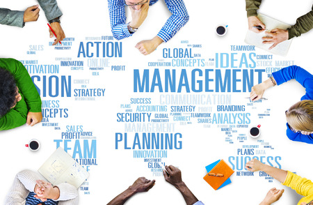 leading education: Global Management Training Vision World Map Concept Stock Photo