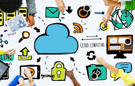 cloud computing: Diversity People Cloud Computing Brainstorming Meeting Concept