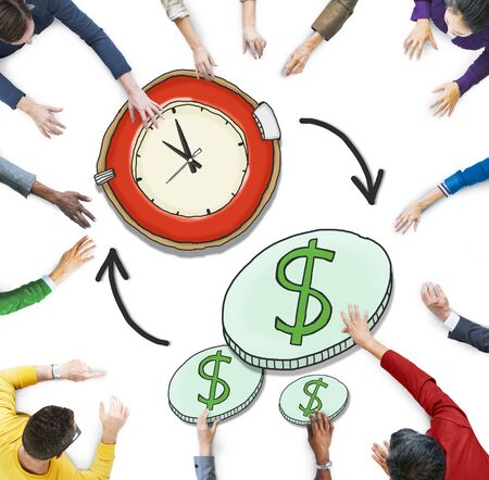 money management: Aerial View People Time Management Money Making Concepts