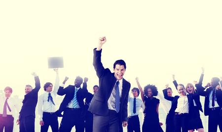victory: Business People Corporate Celebration Success Concept Stock Photo