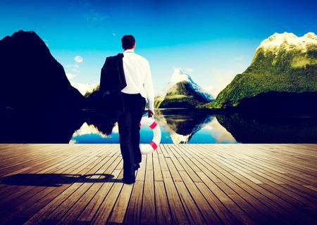 abandon: Businessman Peaceful Abandon Relaxation Travel Concept