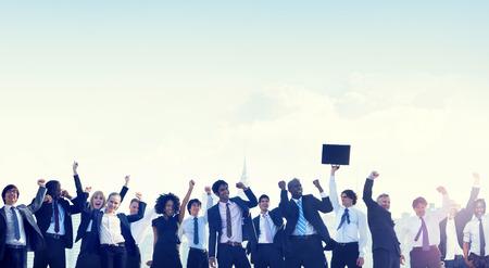 祝賀会: ビジネス人企業の祭典の成功の概念 写真素材