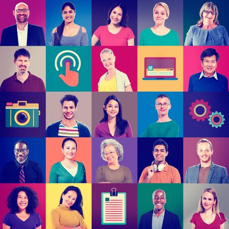 keywords adult: Multiethnic People Colorful Smiling Portrait Technology Concept