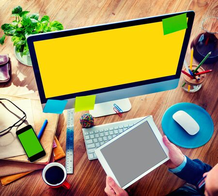 Businessman Digital Devices Using Working Concept photo