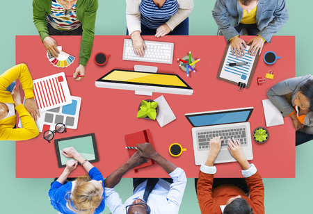 asian man laptop: People Working in a Conference and Photo Illustration Stock Photo