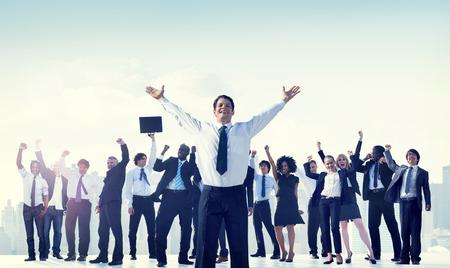 業務: 商界人士團隊成功慶典概念