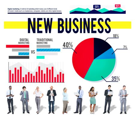 stock market launch: New Business Startup Marketing Launch Business Concept