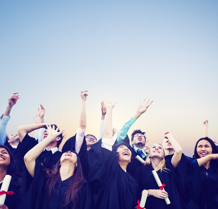 university graduation: Student Celebration Education Graduation Happiness Concept Stock Photo