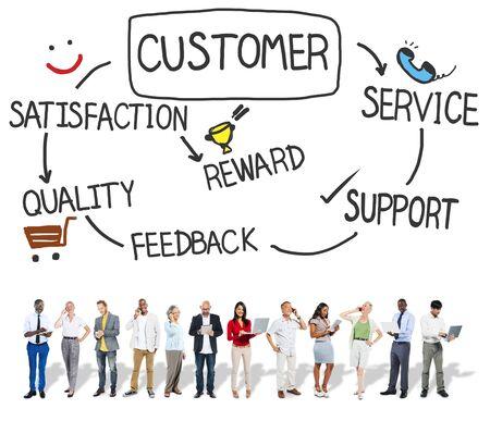 satisfaction client: Satisfaction de la client�le service de soutien Concept Consumersim Banque d'images