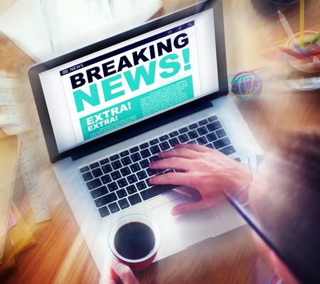 デジタル オンライン速報ニュース見出しのコンセプト