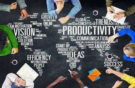 productividad: Misión Estrategia Productividad Empresarial Mundial Vision Concept