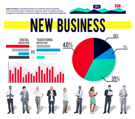 stock market launch: New Business Start Up Marketing Strategy Concept Stock Photo