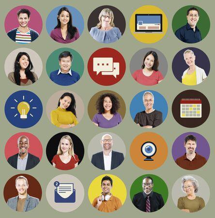 rosto humano: Pessoas Diversidade Face Humana de Social Media Concept