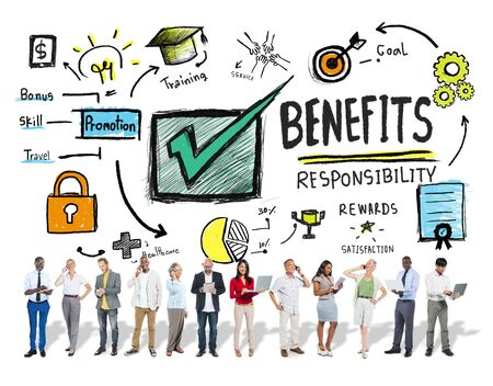 gain: Benefits Gain Profit Earning Income Business Technology Concept Stock Photo