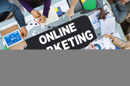 marketing target: Online Marketing Promotion Branding Advertisement Concept Stock Photo