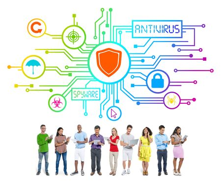 social issue: Group of People with Network Security Concept