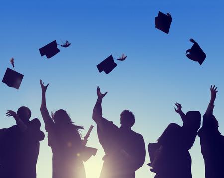 educação: Celebração Educação graduação Estudante Sucesso Aprendizagem Conceito Banco de Imagens