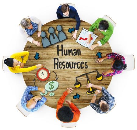 reuniones empresariales: Vista aérea Gente Carrera Plan de Recursos Humanos Conceptos