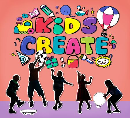 offspring: Kids Create Cretivity Design Ideas Colorful Concept Stock Photo