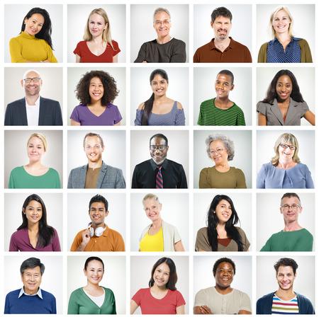 comunidad: Grupo Diversidad Comunidad Headshot Concepto Foto de archivo