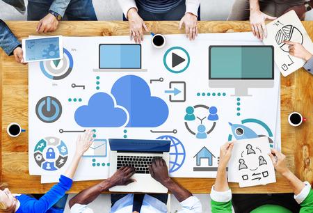 ブレーンストーミング オンライン グローバル通信クラウドの概念を共有