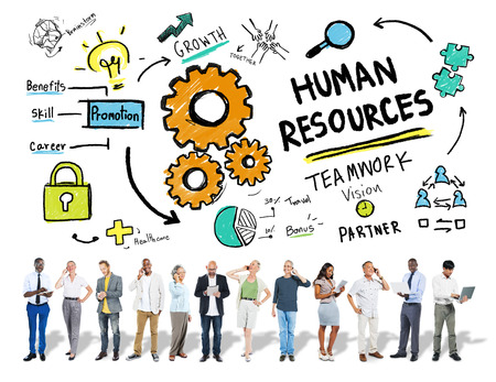using mobile phone: Human Resources Employment Job Teamwork Business Technology Concept