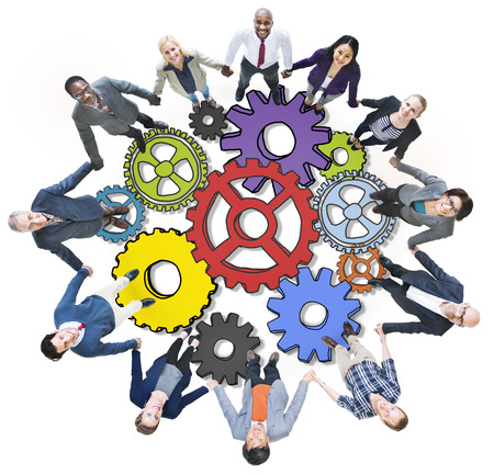 people holding hands: Group of People Holding Hands with Gear Symbol in Photo and Illustration