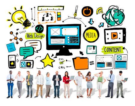 digital content: Business people Web Design Digital Communication Concept Stock Photo