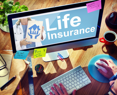 Life Insurance Safety Healthcare Protection Office Working Concept Banco de Imagens