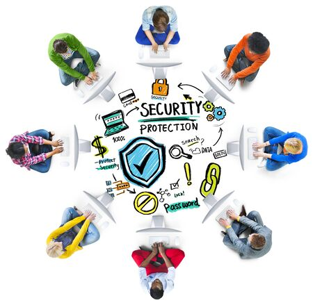 security protection: Ethnicity People Digital Internet Security Protection Concept Stock Photo