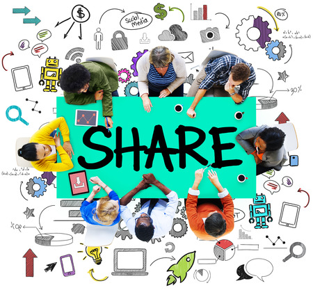 Share Sharing Connection Online Communication Networking Concept Banco de Imagens