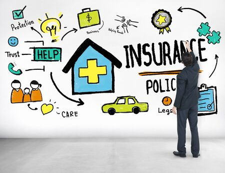 financial protection: Businessman Insurance Policy Financial Protection Concept Stock Photo