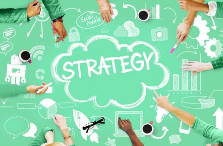 social networking: Strategy Online Social Media Networking Marketing Concept