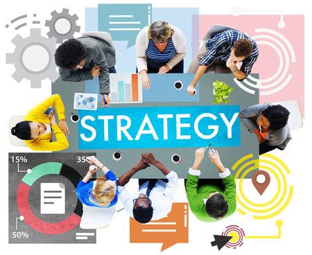 planificacion estrategica: Estrategia Trabajo en equipo Diversidad Brainstroming Visión Concepto Planificación Foto de archivo
