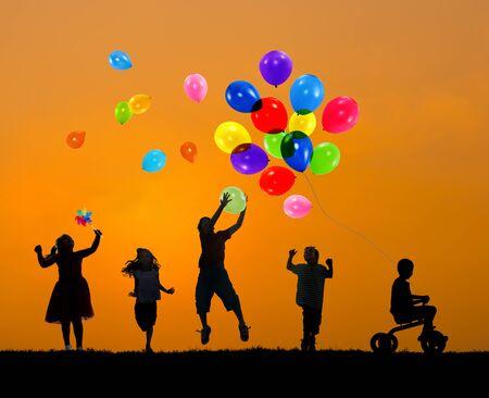 elementary age: Balloon Children Child Childhood Cheerful Leisure Concept