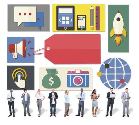 businessman using a megaphone: Business marketing concept