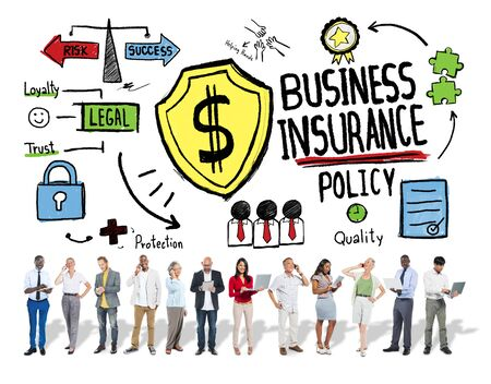 Multiethnic People Communication Safety Risk Business Insurance Concept photo