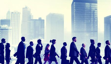 young adult men: Business People Commuter Walking City Concept