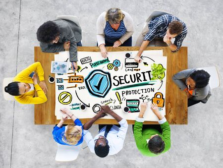 security protection: Ethnicity People Discussion Learning Security Protection Concept