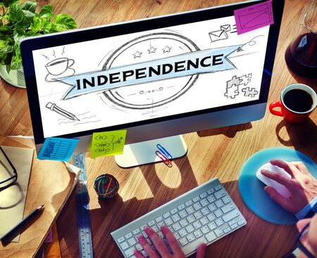 the concept of independence: Independence Liberty Peace Self Control Concept Stock Photo