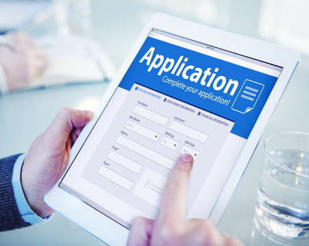 online form: Application Human Resources Hiring Job Recruitment Employment Concept Stock Photo