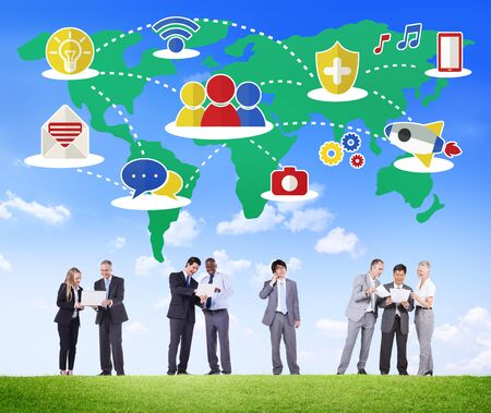 social system: Social Network Sharing Global Communications Connection Concept Stock Photo