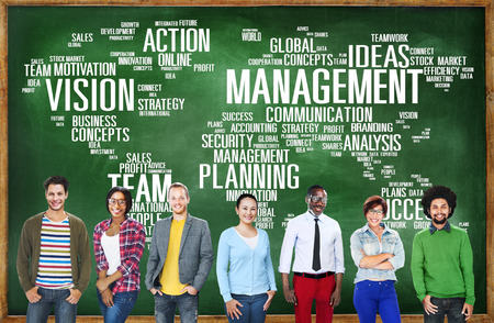 leading education: Global Management Training Vision World Map Concept Stock Photo