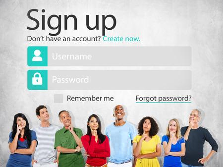 Registreren Registreer online internet webconcept Stockfoto