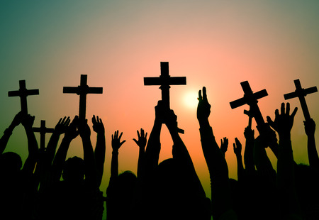 Hands Holding Cross Christianity Religion Faith Concept 写真素材