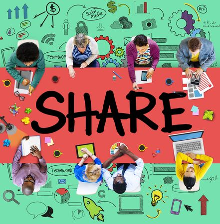 other keywords: Share Sharing Connection Online Communication Networking Concept Stock Photo
