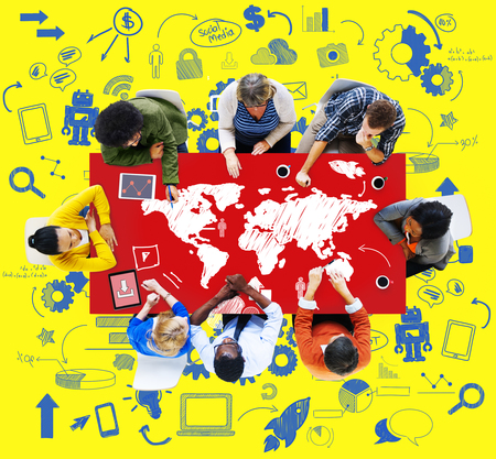 on top of the world: Global communication concept with people at meeting table Stock Photo