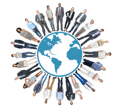 social gathering: Multiethnic Group of People with Global Communiaction